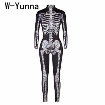 W-Yunna 2019 Halloween Adult Skeleton Print Costumes For Women Long Sleeves Collar Neck Rompers Womens Scary Devil Witch Women - DISCOUNT ITEM  10% OFF All Category