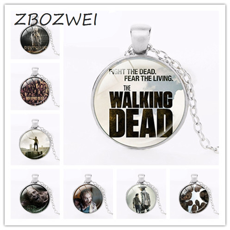 Hot! The Walking Dead Pendant Necklace Antique Silver/Bronze Chain Glass Necklace Vintage Jewelry Gift For Women Men New