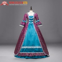 Top Victorian Marie Antoinette Tapis Dress Gothic Period Long Party Purple and Blue Clothing Tailors Historical Halloween Dress
