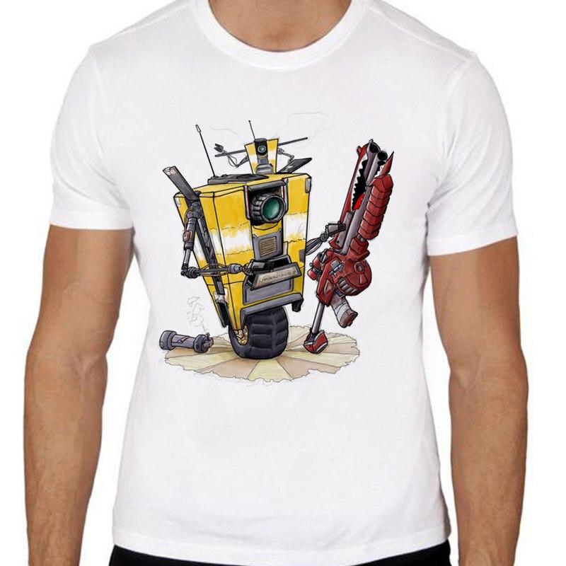 Borderlands  Claptrap Print Casual Tshirt Mens O-neck T Shirts Fashion Men's Tops Men T-shirt Male Men TMM1084