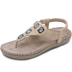 Image 3 - BEYARNE חדש נשים סנדלים שטוחים בתוספת גודל 35 42 אופנה גביש אישה נעלי קיץ נעלי חוף כפכפים נעליים נשים