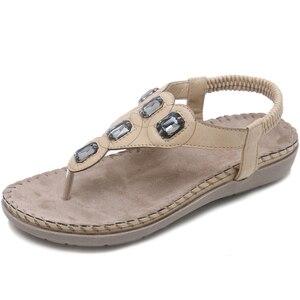 Image 3 - BEYARNE  New Women Flat Sandals Plus Size 35 42 Fashion Crystal Woman Shoes Summer Footwear Beach Flip Flops Shoes Women