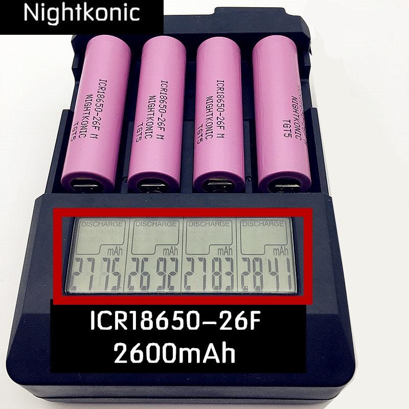 2600mAh 18650 ICR18650-26F battey 3.7V Li-ion bateria Recarregável Original para powerbank lanterna E-Cigarro Sem carregador