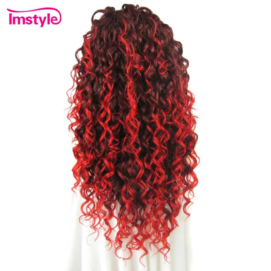 """Imstyle кружевной передний кудрявый парик длинные Auburn красные Омбре парики для женщин Термостойкое волокно 26 """"парик из синтетических волнистых волос Косплей вечерние женские"""
