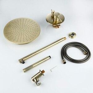 Image 4 - 8/10/12 インチ真鍮シャワーセット浴室丸頭蛇口高級ゴールド HandShower ダイバーミキサーゴールデンハンドヘルドスプレーセット