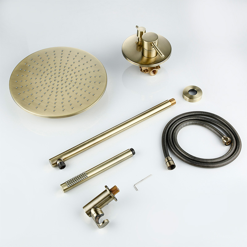 Image 4 - 8/10/12 inch Solid Brass Shower Set Bathroom Round Head Faucet Luxury Gold HandShower Diverter Mixer Golden Handheld Spray SetShower System   -