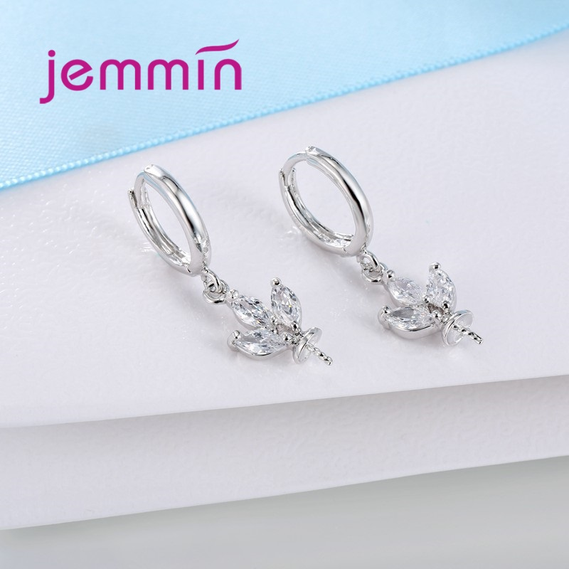 Jemmin Top Quality Created Petal Flowers Cubic CZ DIY Accessories Hoop Earrings 925 Sterling Silver Fine Jewelry For Wome