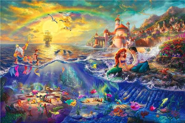 Little Mermaid Poster Little Mermaid Princess Wall Stickers Thomas Kinkade  Painting Wallpaper Christmas Mural Home Decor