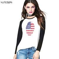 Vogue Mùa Thu Mùa Đông t áo sơ mi Hoa Kỳ thời trang phụ nữ T-Shirt Mỹ cờ tee shirt American new years quần áo cho phụ n