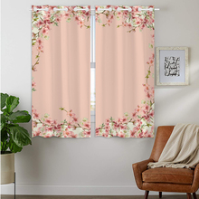 Blackout Curtains Darkening 2 Panels Grommet Window Curtain for Bedroom beautiful Pink Peach Blossom Flowers