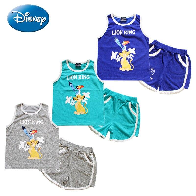 Disney Lion King Character Kids  Sleeveless T-shirts Cotton Summer Breathable Simba Child Summer New Season's Clothing
