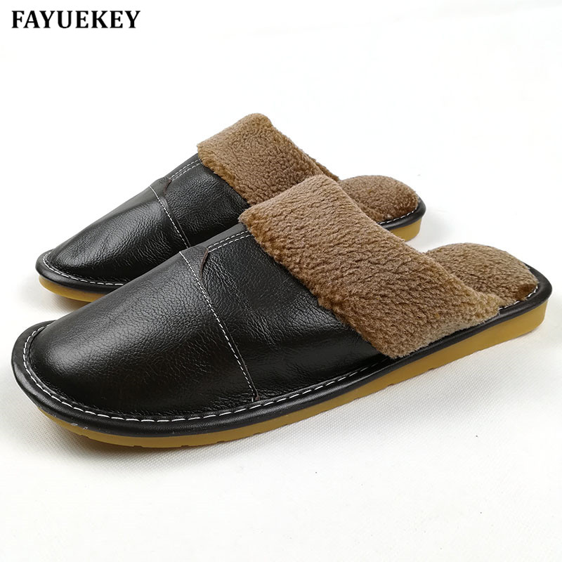 FAYUEKEY New Fashion Winter Leather Home Slippers Lelaki Indoor  Floor Outdoor Slippers Warm Cotton Plush Non-slip Flat Shoes