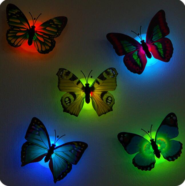 Colorful 3D Led Butterfly Lights Luminaria Night Light 10 Pieces/Lot Decoration Child Small Night Lamp