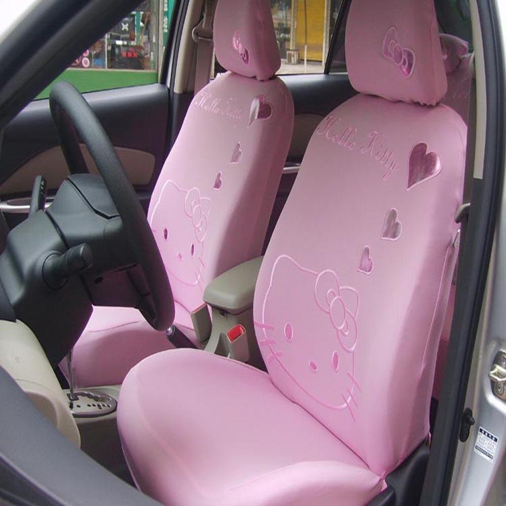 Gift Set Car Seat Covers Pink Hello Kitty Cartoon Universal Car