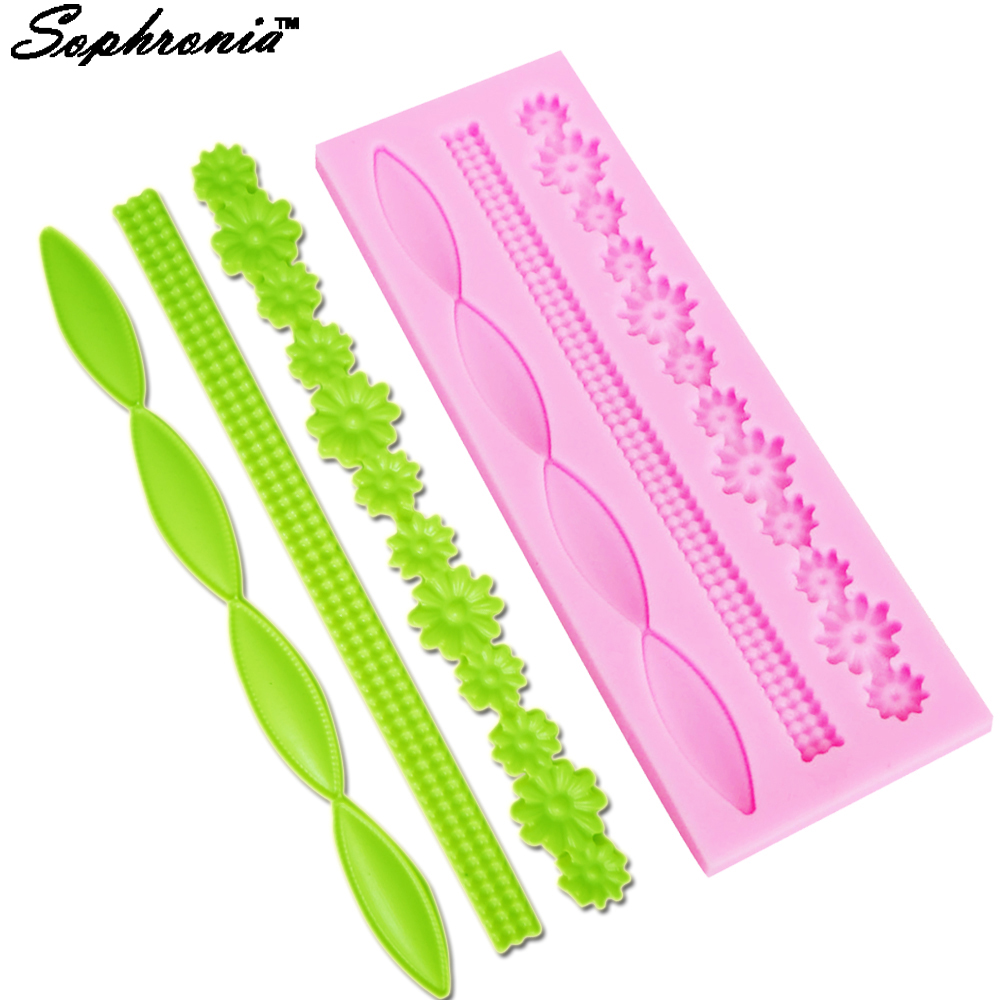 Sophronia M308  Long Pearl Necklace Flower Lace Fondant Silicone Mold Sugar Mould Decoration Chocolate Tools5.2*15.3*0.6cm