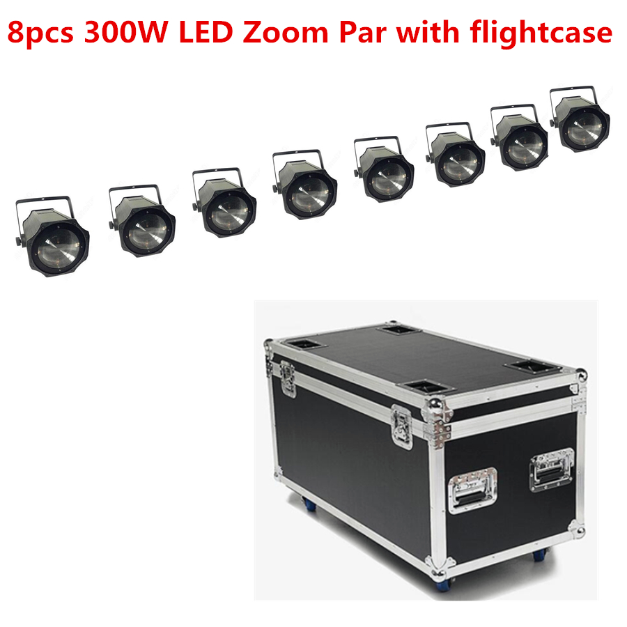 8X LED Zoom 300W COB LED Par Light With Flightcase 5-50 Degree  3200K Warm White White/ RGBW 4in1 Stage Disco Light Led Par 64