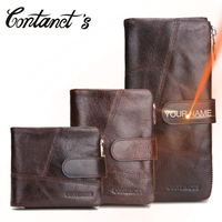Contact's New Casual Men Clutch Wallet Genuine Leather Male Purse And Handbags Luxury Brand Black Zipper Coin Pocket Card Holder