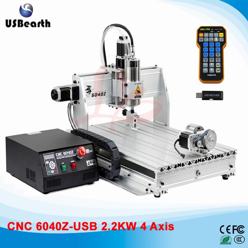 USB Port CNC Machine CNC6040 2.2KW Limit Switch Metal Cutting Machine with mach3 remote control 110 220v 1500w 4 axis metal milling machine cnc 6040 with limit switch for metal wood cutting
