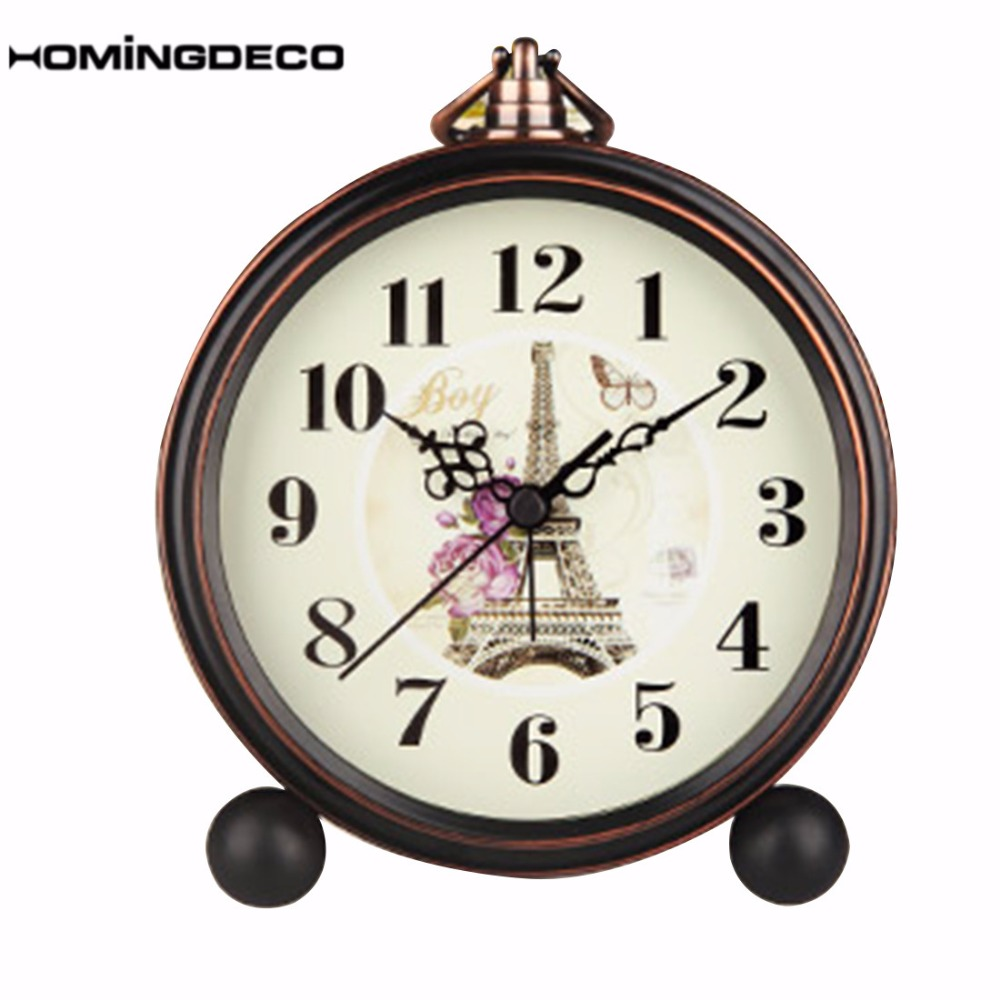 Homingdeco European Style Alarm Clock Vintage Desktop Silent Desk Clock With Metal Non Ticking Battery Operated Table Clock