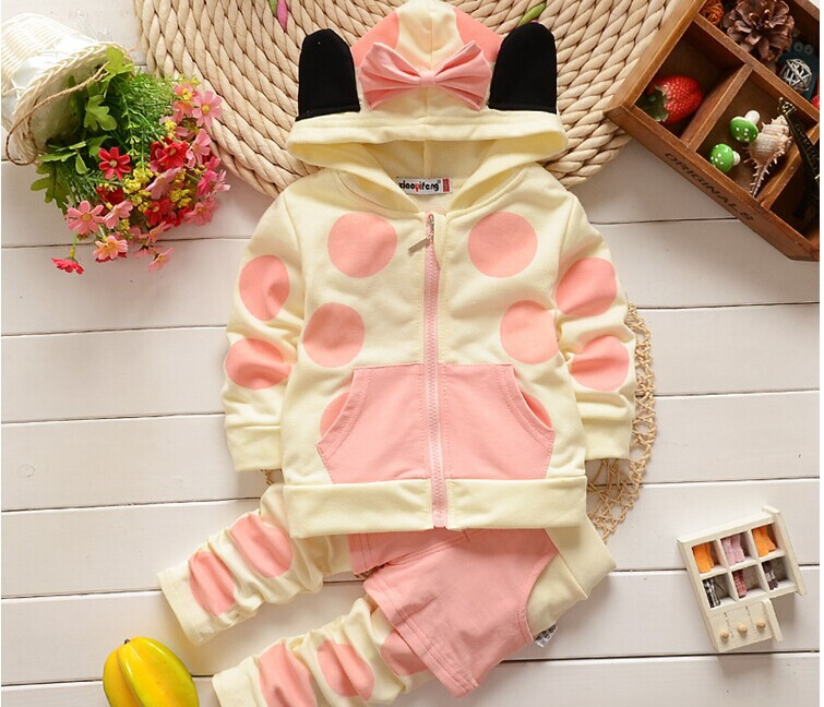 On Sale 2016 Spring new 1-4 years old baby girls clothing set Cotton with hooded Dot 2 piece suit setsA178