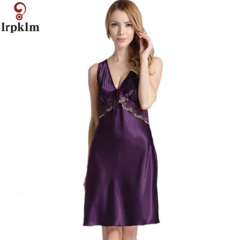 Summer Women Nightgowns 2017 Faux Silk Home Dressing Gown For Women ...