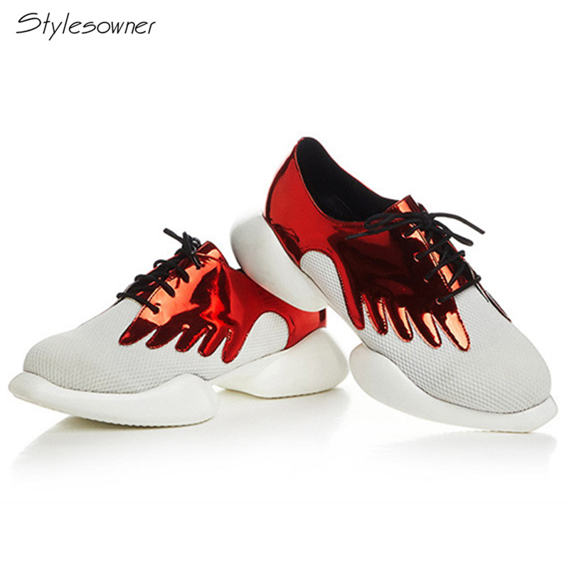Stylesowner Women Lace Up Casual Mixed Color Sneakers Thick Sole Patchwork Laces Sneakers Fashion Mesh Breathable Casual Shoes patchwork button up casual shirt