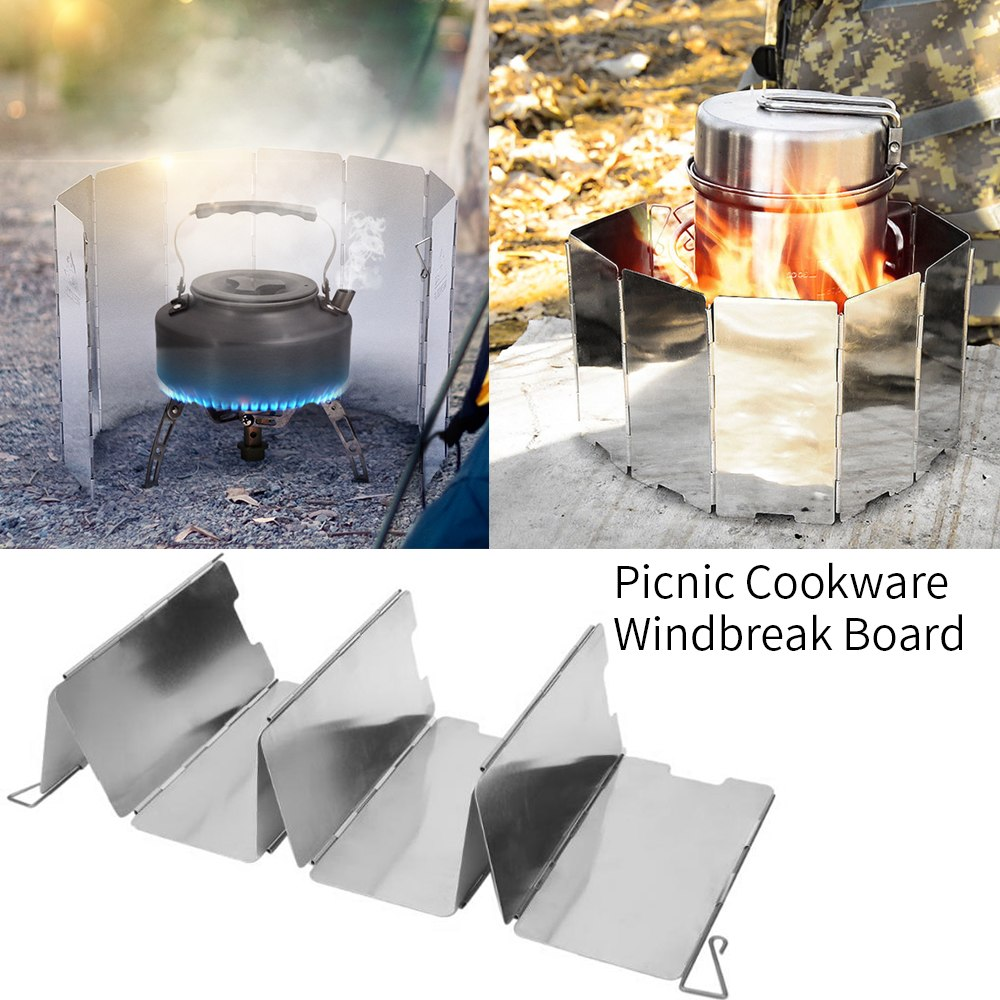 Picnic Wind Guard Cookware Cookout Stove Outdoor Supplies Foldable Wind Shiel/_TI