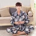 Invierno de la manera Libre Hogar ropa de Los Hombres de la Franela Engrosamiento Cómodo Mantener caliente pijamas de Gran tamaño de Los Hombres de Cuello de Solapa Set