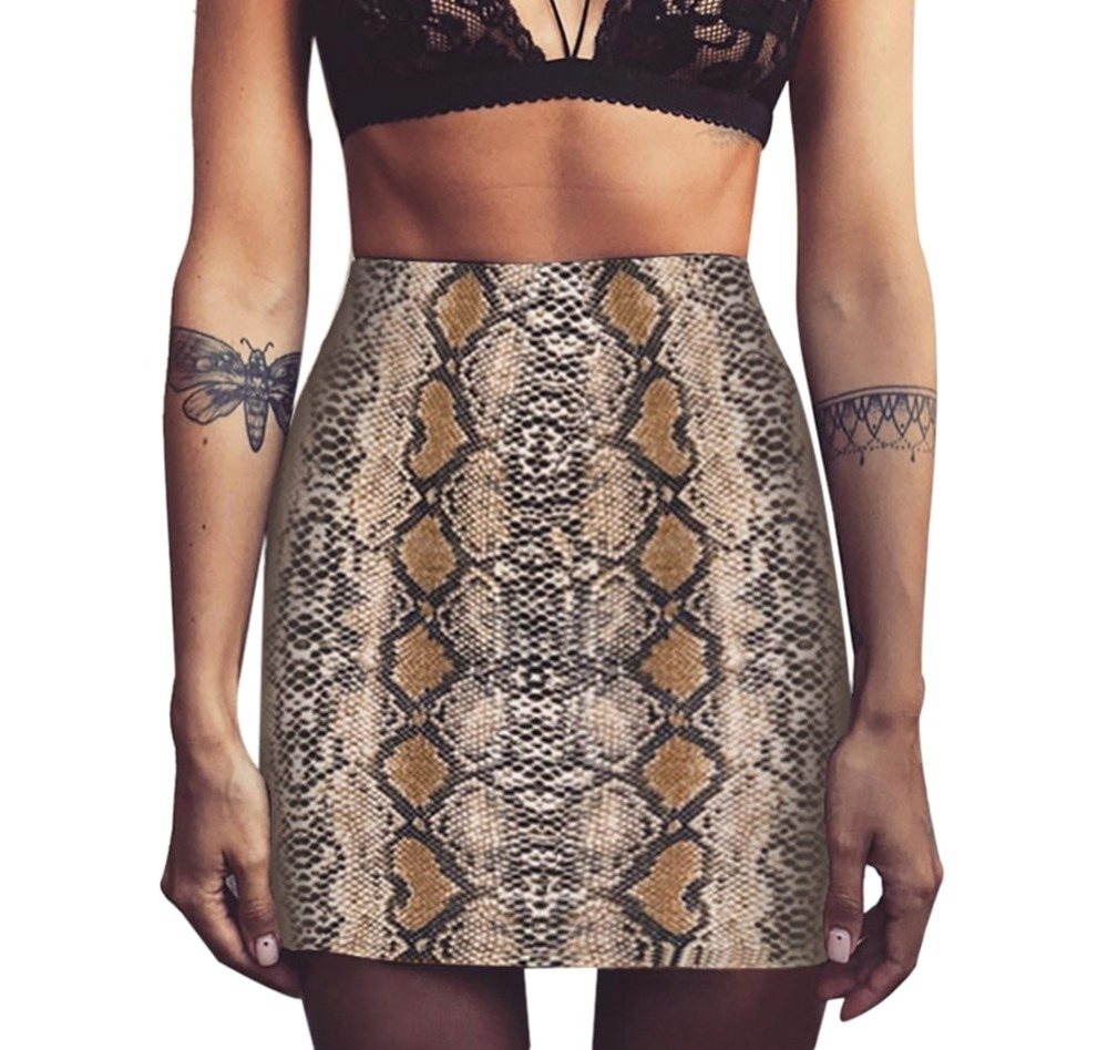 Sexy Snake Print Woman High Waist Short Skirt For Women For Fall 2020 Bag Naughty Elegant New Fashion Hip Up Ladies