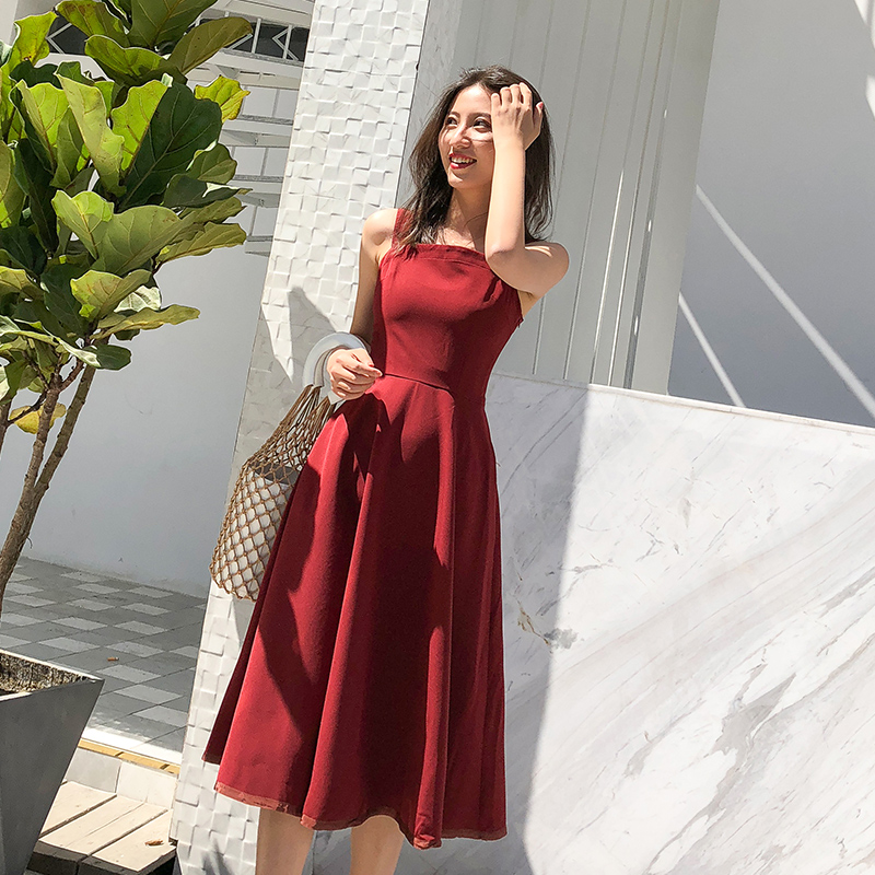 Women Dress A Line Formal Party Dresses Luxury Summer Retro Ladies Sleeveless Knee Length Dress Wine Red Vestidos Branco 2018 ...