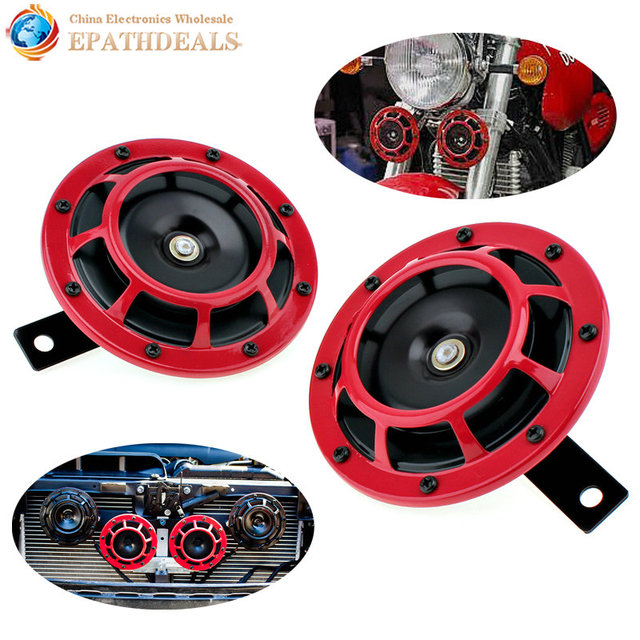 Loud Car Horn >> 2pcs 12v Red Super Loud Dual Tone Car Horn Grille Mount Trumpet