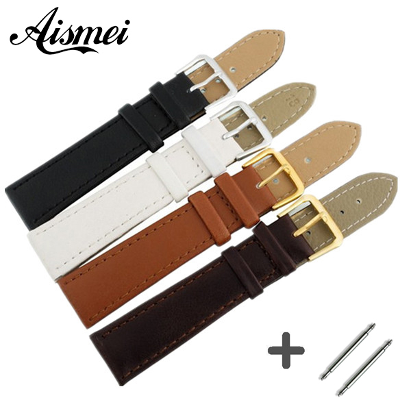 Watchbands Genuine Leather WatchBand Stainless Steel Buckle Clasp watch band leather strap 12,14, 16,18,20,22,24mm
