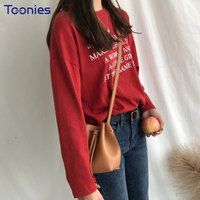 New Style Women Long Sleeved T Shirt O Neck Letters Printed Harajuku Cotton Tee Shirts Woman