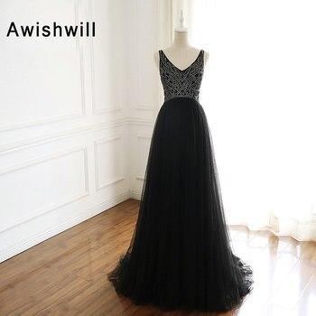 Vestidos De Noche negros modestos con cuello en V espalda abierta tul con cuentas Línea A vestido De noche largo Formal De Vestido De fiesta De graduación 2020 túnica De Soriee
