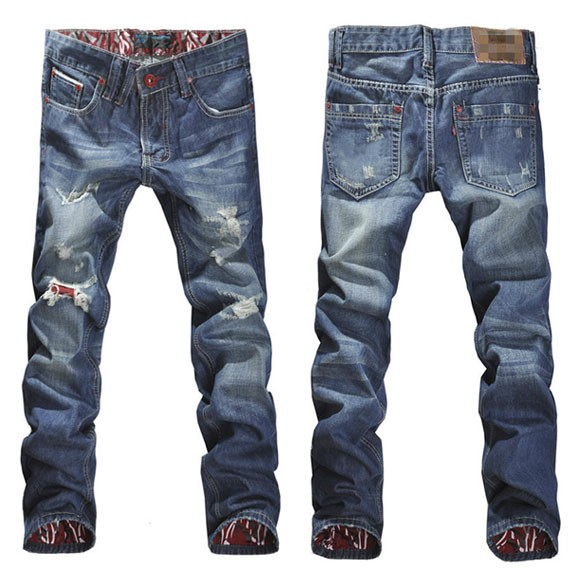 ФОТО Drop Shipping New 2016 Mens Stylish Designed Straight Slim Fit Trousers Casual Jeans Pant Size 13069