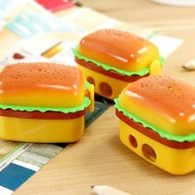 Free ship!1lot=24pc!The double layer simulation hamburger cut pencil sharpeners/pencil sharpener with two rubber erasers