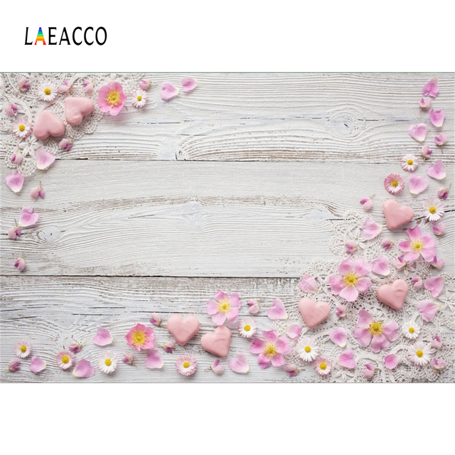 Gray Planks Flower Love Heart Gift Cake Food Texture Baby Portrait Photo Backdrop Photographic Background For Small Size Printed