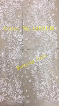 luxury wedding lace fabric Embroidered African tulle French Lace Fabric With best quality in white color