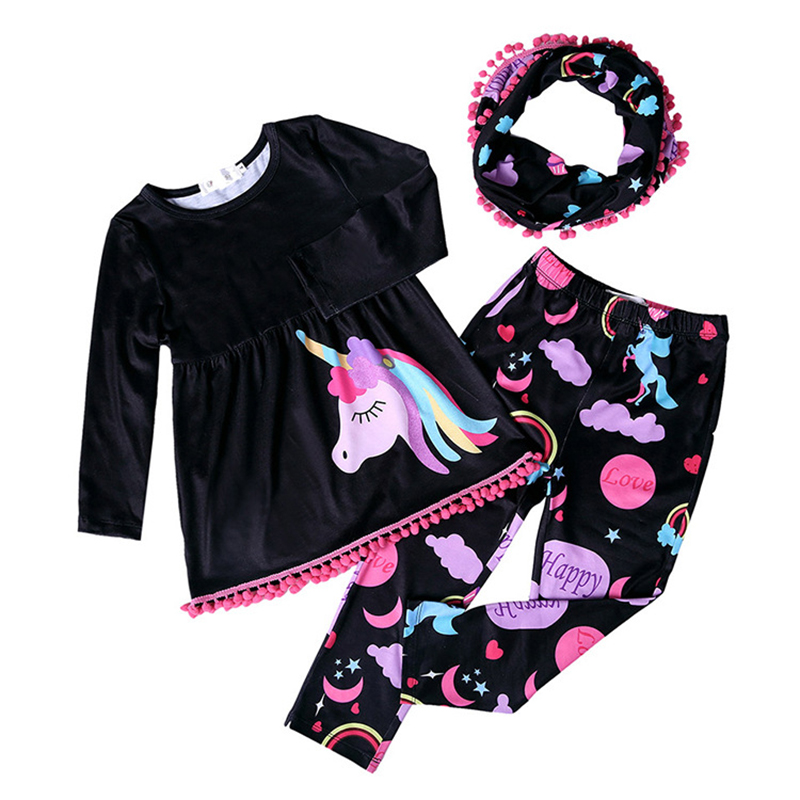 Spring Autumn unicorn print silk touch baby long Tee shirt + pants + neck warmer girls 3 pcs set kids suit children 1 to 8 yrs button embellished retro print notch neck tee