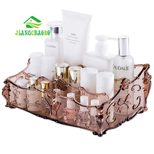 JiangChaoBo Dressing Table Transparent Cosmetics Storage Box Desktop Plastic Grid Finishing Skin Care Products Racks