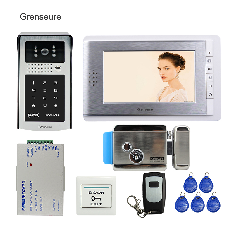 FREE SHIPPING 7 LCD Screen Video Door Phone Doorbell Intercom System + RFID Access Code Keypad Password Camera + Electric Lock free shipping wire 7 lcd monitor video intercom door phone kit waterproof rfid code keypad doorbell camera magnetic lock
