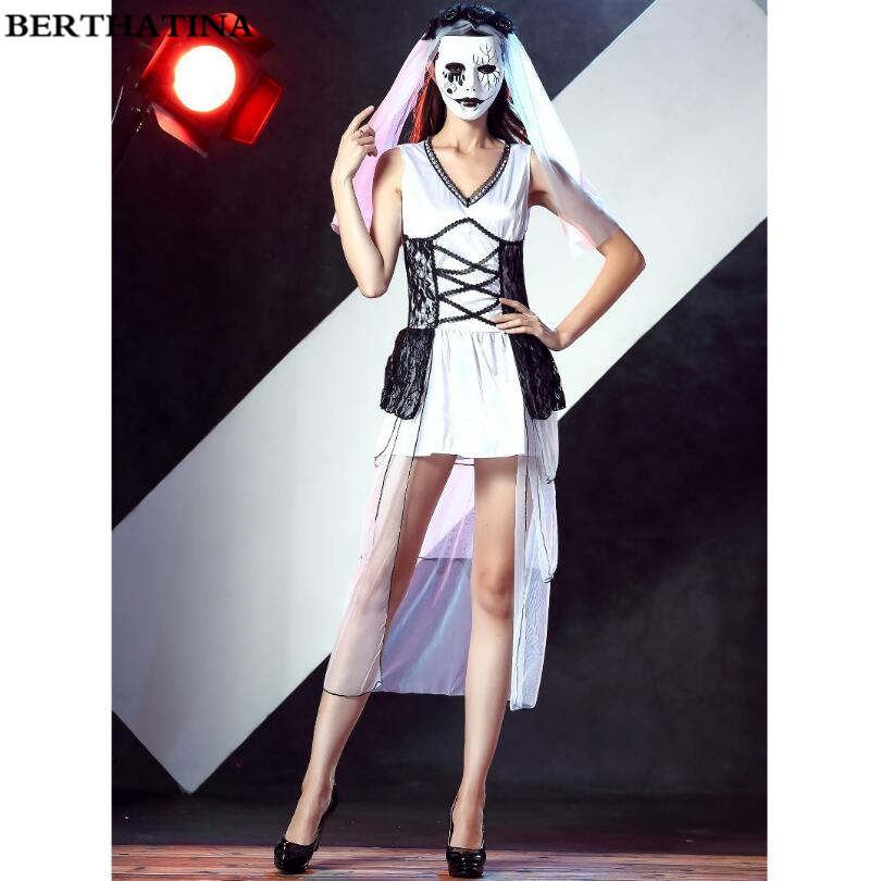 Halloween Clown Girl Outfit.Us 26 43 23 Off Women Halloween Cosplay Vampire Zombie Clown Mask Costume Adult Witch Gothic Vampire Masquerade Dress Girls Outfit Game Uniforms In