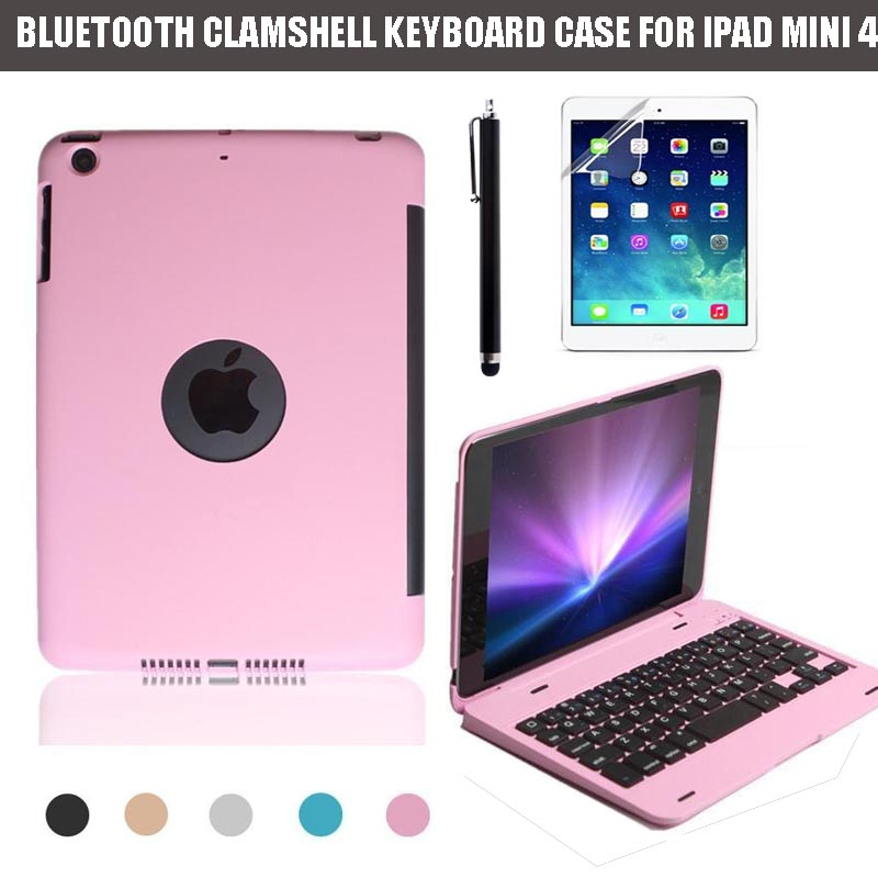 For Apple iPad Mini 4 Clamshell Keyboard Case, Laptop-like Design Alumium Folio Shell ABS QWERTY Bluetooth Keyboard Carry Cover