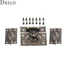 DRELD 2 шт. чемодан петли для шкафа+ 1 шт. Античная бронзовая бижутерия деревянная коробка защелка засов застежка винтажная фурнитура Аксессуары для мебели