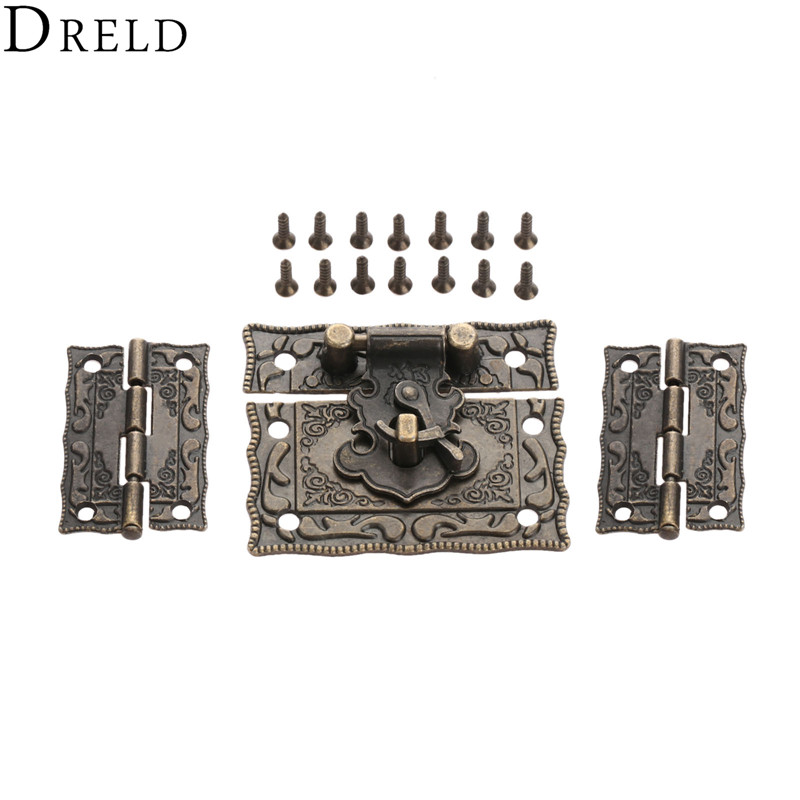 DRELD 2pcs Suitcase Cabinet Hinge +1pc Antique Bronze Jewelry Wooden Box Latch Hasp Clasp Vintage Hardware Furniture Accessories