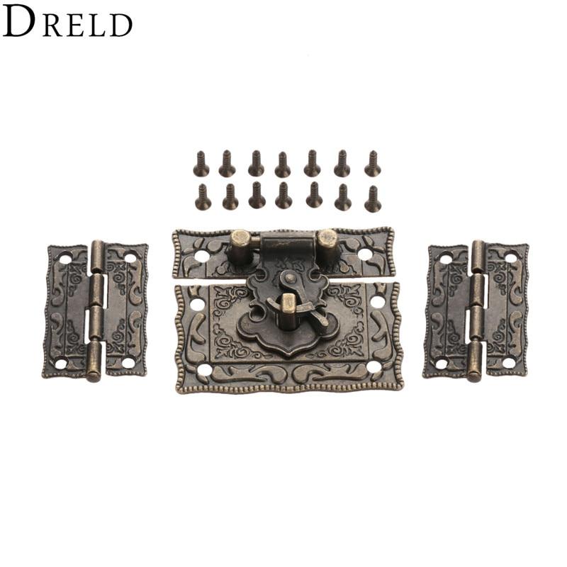 DRELD 2pcs Suitcase Cabinet Hinge +1pc Antique Bronze Jewelry Wooden Box Latch Hasp Clasp Vintage Hardware Furniture Accessories
