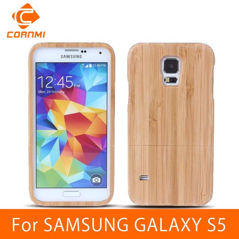 Cornmi para samsung galaxy s5 case cubierta de madera de bambú del teléfono caso