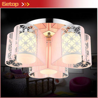 Modern Romantic Heart Shape E27 LED Ceiling Lamp Creative Pink Cloth Circular Chassis Lights for Wedding Room Bedroom Lamp