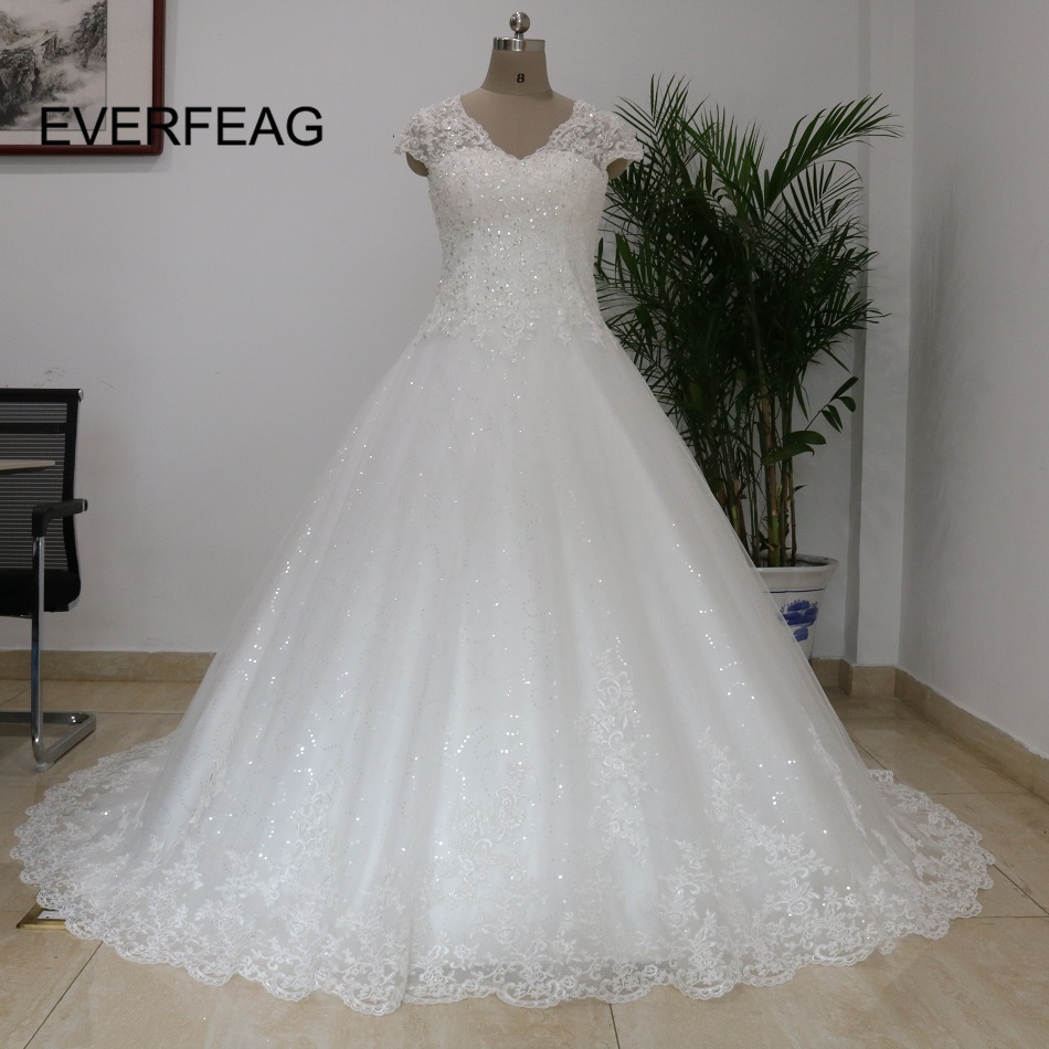 Bridal Gowns With Lace Cap Sleeves: Real Pictures Ball Gown Plus Size Lace Wedding Dress 2018