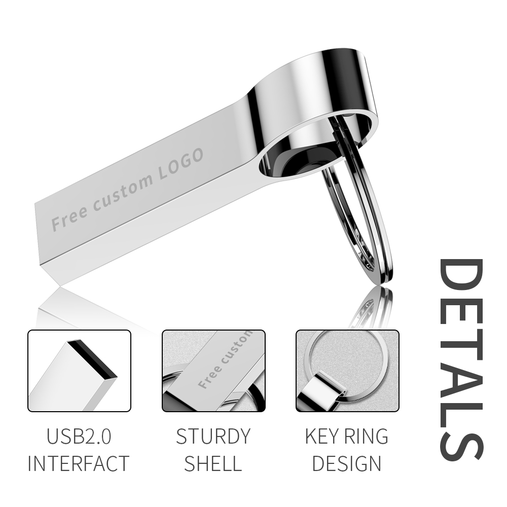 Image 5 - usb flash drive metal Silver usb 2.0 pendrive 64gb 128gb 32gb 16gb 8gb 4gb usb stick pen drive Memory Stick key ring Free logo-in USB Flash Drives from Computer & Office